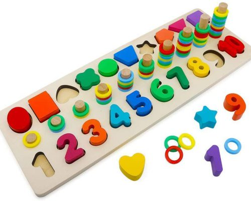 Holzpuzzle Zahlen und Formen und Farben